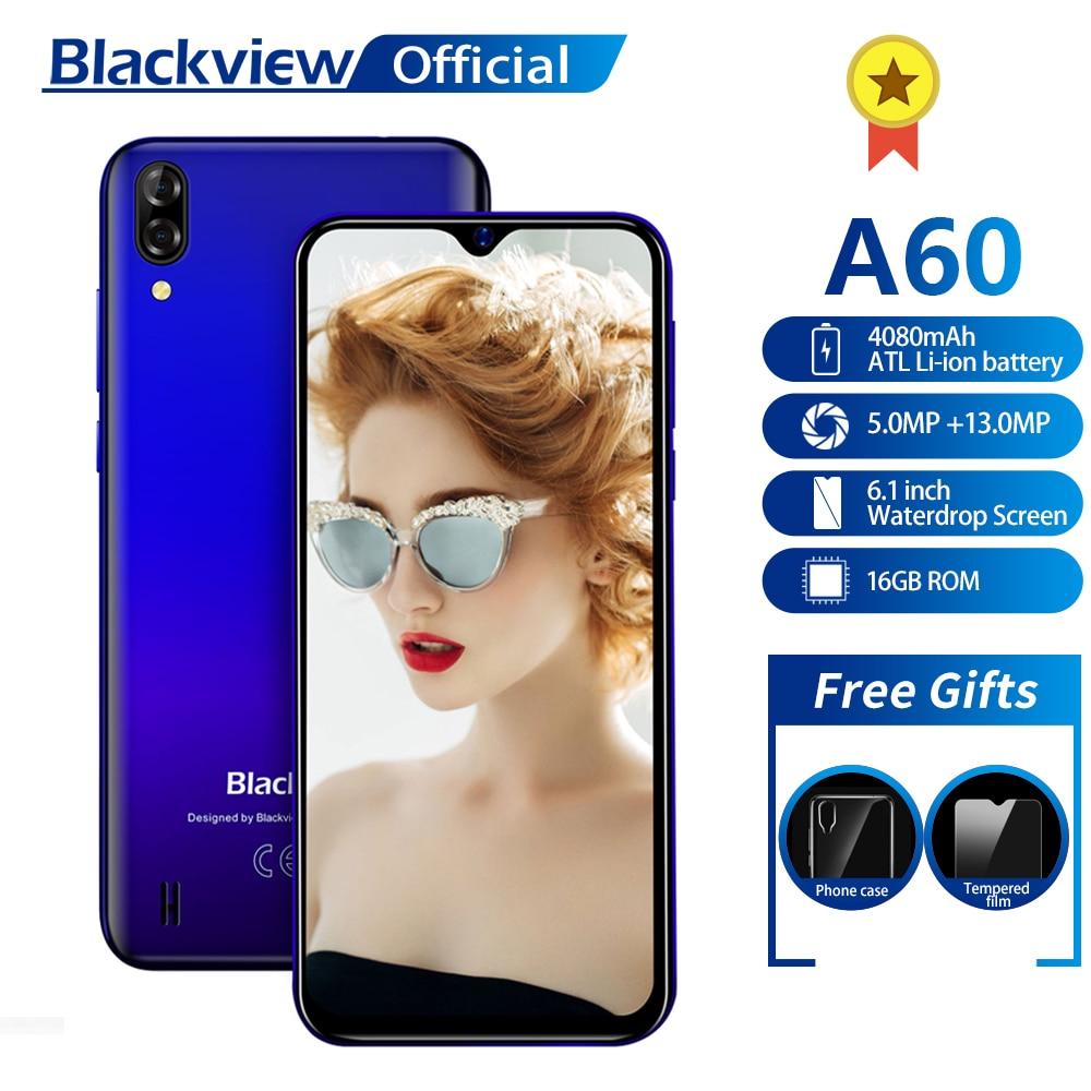 Перейти на Алиэкспресс и купить Blackview A60 смартфон 4 ядра процессор 4080 мА батарея мобильного телефона 16GB 6,1 дюймов 19,2: 9 Экран двойной Камера 3G мобильный телефон