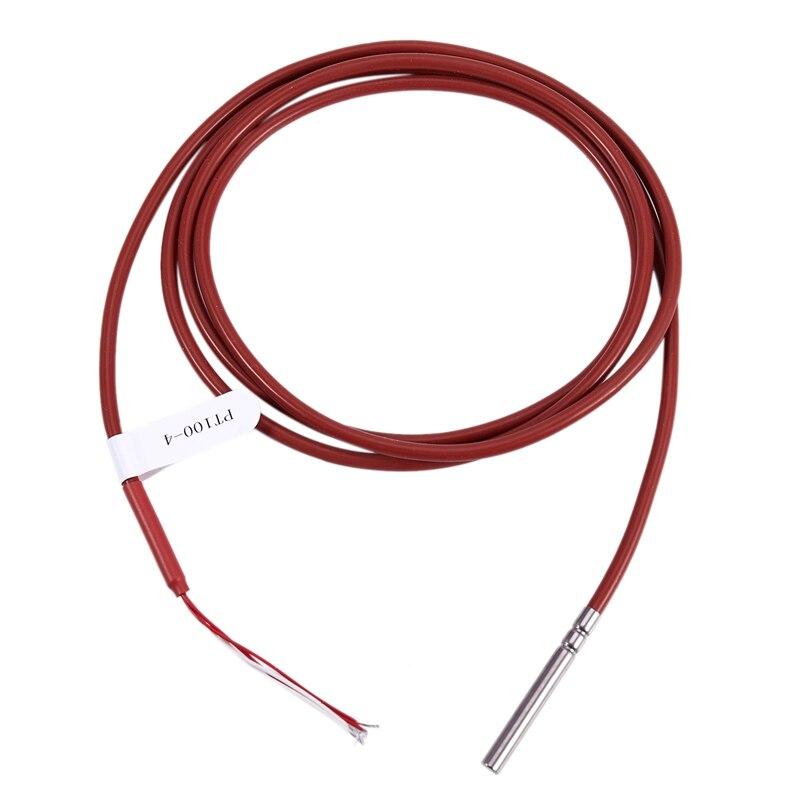 Sensor de temperatura PT100, 4 cables de 1,5 metros con recubrimiento de Gel de silicona, sonda de 45mm x 5mm, RTDs de 4 hilos, 50-180 cm