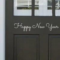 Autocollant mural joyeux nouvel an pour portes et fenetres  decorations de noel pour la maison