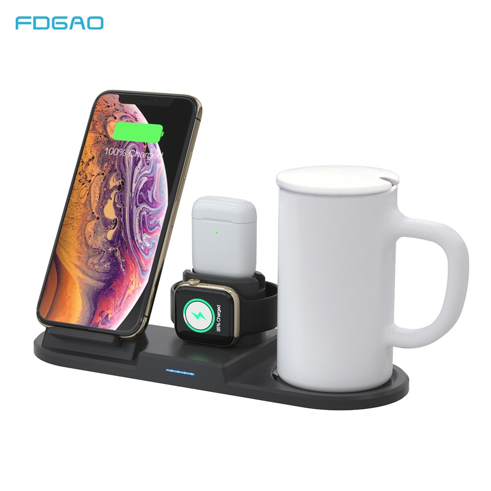 Calentador de tazas 15W Qi, cargador inalámbrico 4 en 1, soporte de carga, estación de acoplamiento, taza para iPhone 11 8 XS XR X Airpods Pro Apple Watch 5 4 3