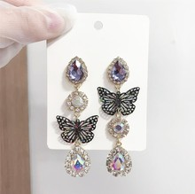 2020 nouveau coréen brillant multicolore cristal coeur femmes boucles doreilles mode longue fine métal creux papillon asymétrique boucles doreilles