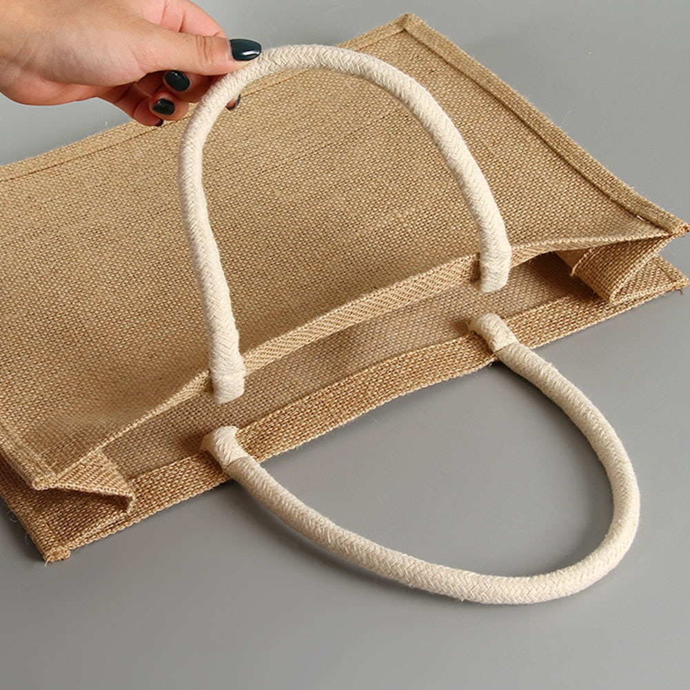 Bolso de viaje de yute para mujer, bolsa de almacenamiento informal ecológica con asa