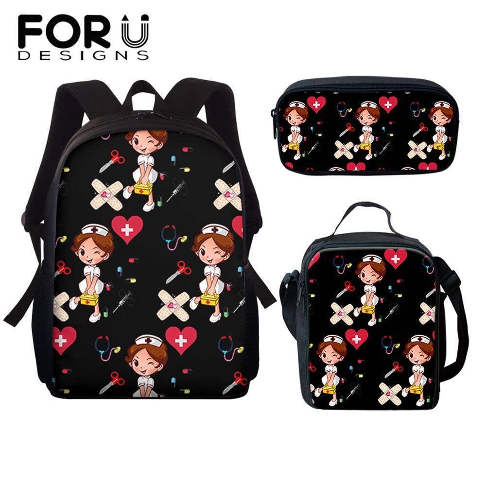 FORUDESIGNS Black Backpack for Teenager Girls Boys Cartoon Nurse Printing Kids Mini Crossbody Bags Pencil Case Lunch Boxes