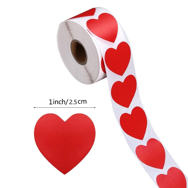 AliExpress - Heart Red Stickers seal labels 50-500pcs Labels stickers scrapbooking for Package and wedding decoration stationery sticker