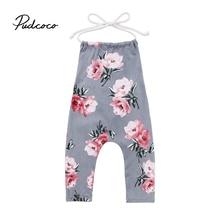 2019 Brand New Sleeveless Toddler Infant Child Kids Baby Kids Girl Flower Halter Romper Jumpsuit Playsuit Strap Clothes 6M-6T