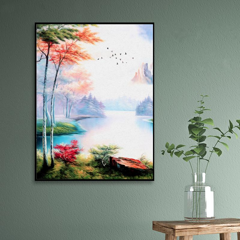 Abstract Colorful Natural Lake View Flying Bird Elk Wonderland Wall Painting Hd Waterproof Ink Frameless Canvas Printing Poster  - buy with discount