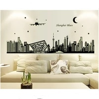 creative city night scene glow in the dark wall stickers sofa background living room luminous stickers diy home wall decoration