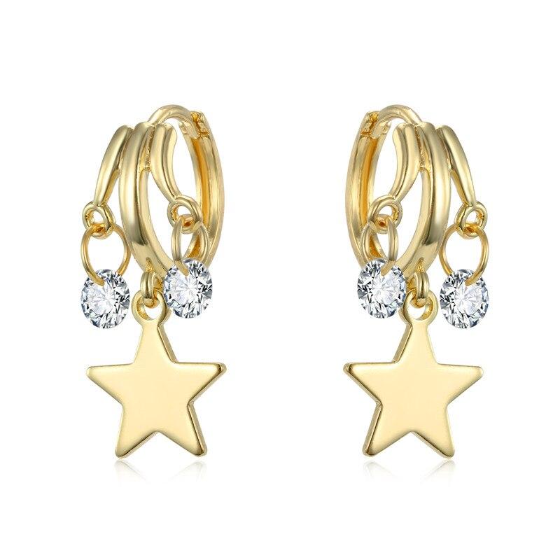 1Pair Simple Cute Glitter Zircon Star Hoop Earrings For Women Girl Gold Metal Color Pentagram Crystal Circle Earrings Jewelry