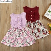 girls dress kids clothes toddler baby girls kids sleeveless linen bow floral dress sunsuit clothes children vestido clothing