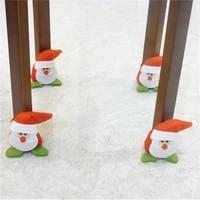 4pcslot christmas chair leg cover table leg chair foot covers table decor santa claus snowman chair cover christmas decorations