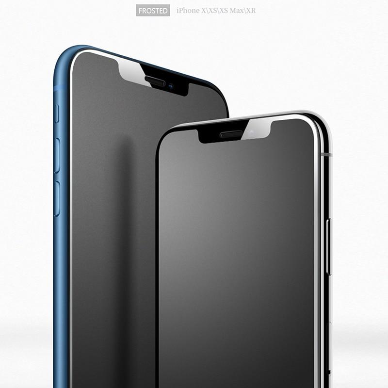 1-2 Stuks Geen Vingerafdruk Glas Voor Iphone 13 Pro Max Volledige Cover Screen Protector Frosted Matte Glas Voor iphone11 Xr Xs Gladde Rand