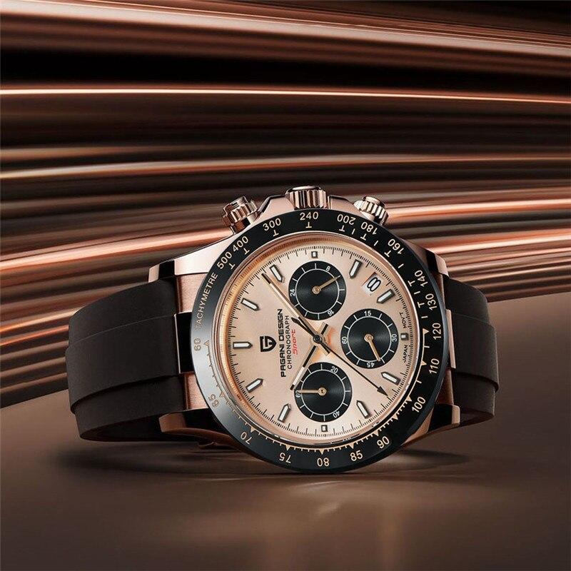 PAGANI DESIGN Top Brand Men Quartz Watch Sapphire Luxury Men Chronograph Rubber Wristwatch Fashion Men Watch relogio masculino
