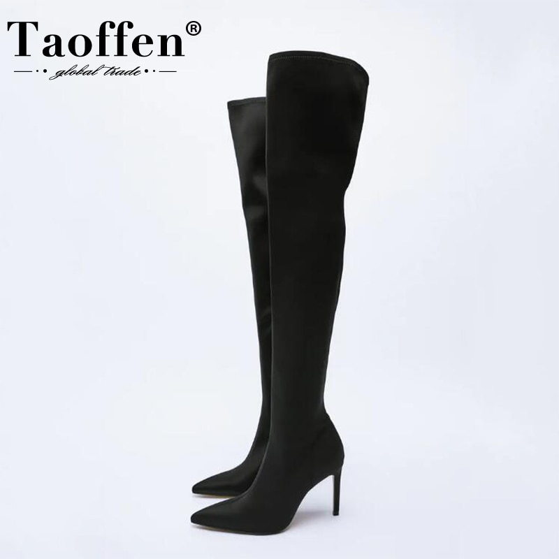 Taoffen Size 34-43 Women Over The Knee Boots Thin High Heels Ins Style Candy Color Party Club Fashio