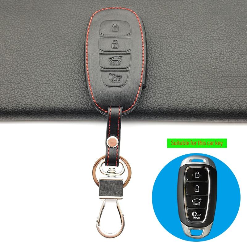 High Quality Genuine Leather 4 Buttons Car Key Case Cover Holder for Hyundai Azera GRANDEUR IG 2016 2017 Key Case Cover Shell