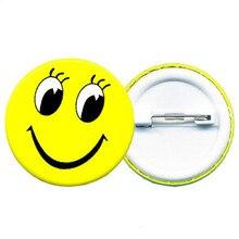 Round Pcs 1 Smiley Face Badge Cartoon Brooch Badges Metal Badge Cute Dress Decoration Waiter Badge Diy Craft