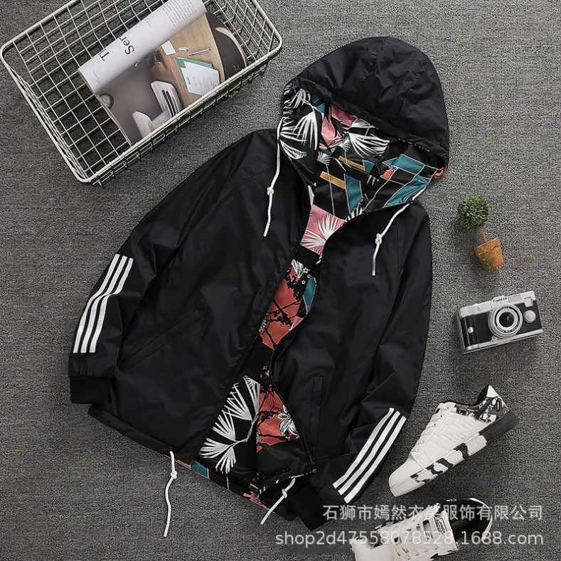 2021 spring and autumn youth wear loose jackets on both sides Korean men's windbreaker camouflage hooded jacket