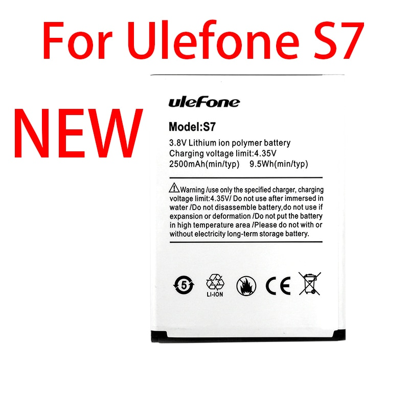 100% Original 2500mAh S 7 Battery For Ulefone S7 Mobile Phone In Stock High Quality +Tracking Number