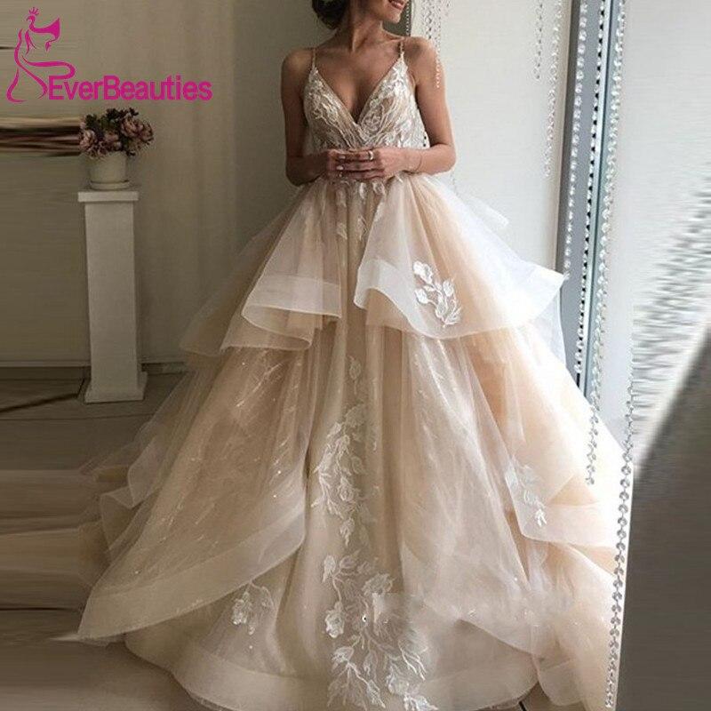 Robe de bal robe de mariée 2020 Appliques dentelle Tulle lumière Champagne robes de mariée robe de mariée