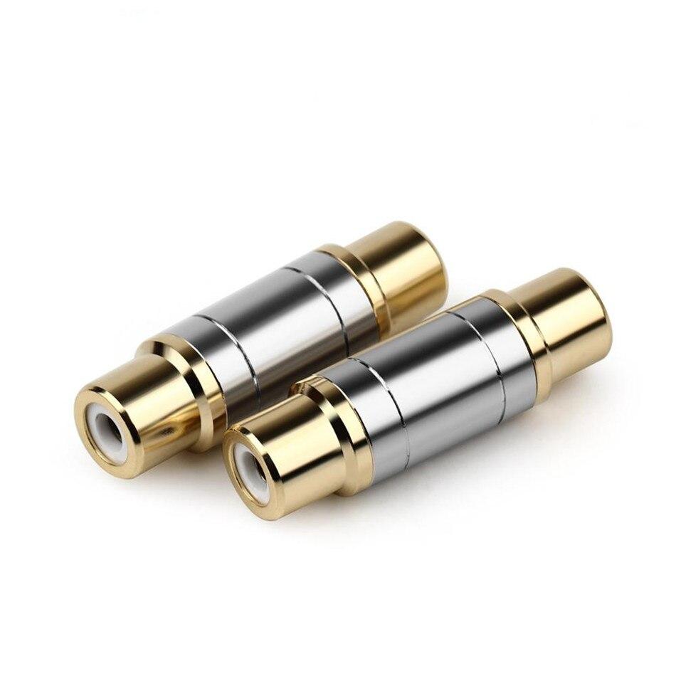 Rca conector fêmea para fêmea banhado a ouro em linha reta rca jack adaptador de áudio microfone adaptador de cobre para casa acústica terminal