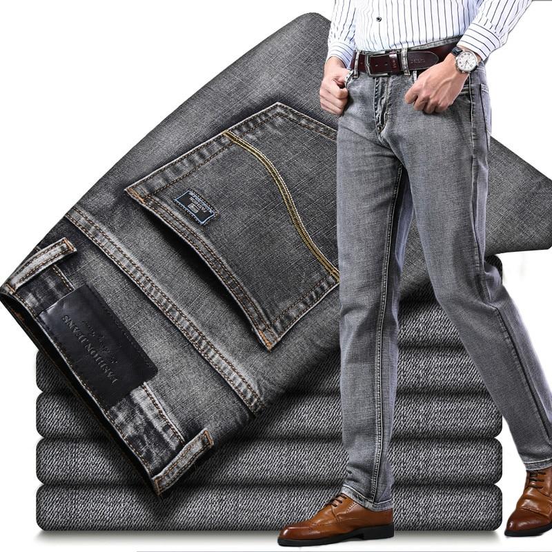 2020 New Stretch Slim Denim Pants Grey Blue Black Trousers Male Brand  Men Jeans Business Casual