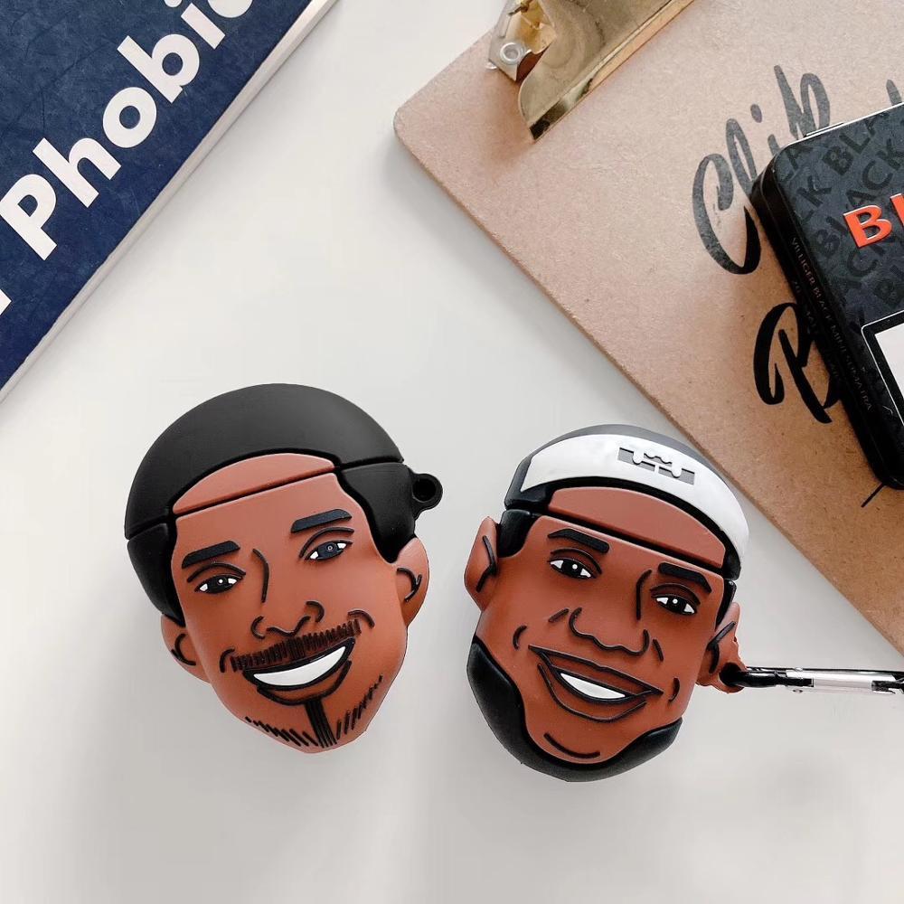 Für apple airpods 2 fall abdeckung silikon mit keychain nette große kopf cartoon LeBron Kobe headset fall für airpods 1/2 fall