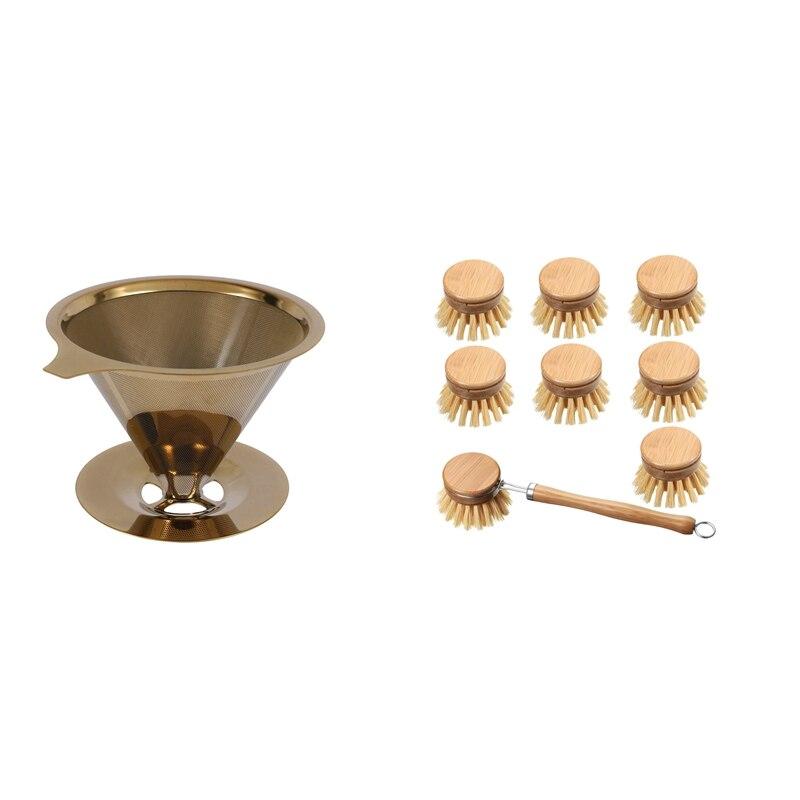 1 قطعة الفولاذ المقاوم للصدأ صب أكثر من فنجان القهوة تصفية مع كوب حامل و مقبض و 1 مجموعة خشبية المطبخ طبق فرشاة