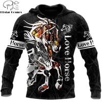 beautiful animal horse 3d printed autumn men hoodies unisex casual pullover zip hoodie streetwear sudadera hombre dw0545