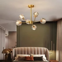 nordic luxury all copper crystal chandeliers modern simple home decor chandelier for dining room kitchen fixtures art lighting