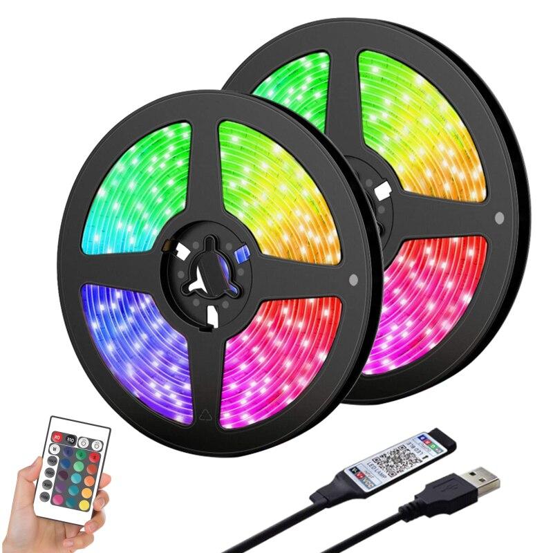 СВЕТОДИОДНЫЕ светящиеся полоски, светящиеся полосы с Bluetooth, светящиеся полоски, лента Rgb с подсветкой, синхронизация с Bluetooth, пульт дистанцио...