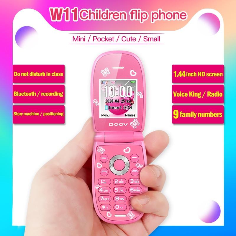 Mini flip mobile phone Cute Girl unlocked celular voice king Bluetooth Unlocked Kids MP3 Children ch