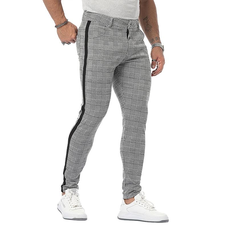 skiny трусы Mens Streetwear Chinos Plaid Casual Pants Fitness Men Skiny Bottom Jogger Pants Sweatpants Fashion Trousers Stripe Track Pants