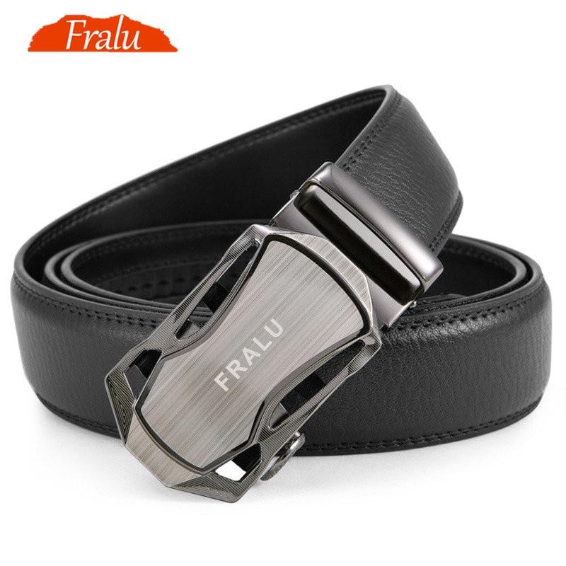 FRALU, cinturón de marca famosa para hombres, cinturones de cuero de lujo genuinos de alta calidad para hombres, correa de Metal, hebilla automática para hombre, largo 110-150