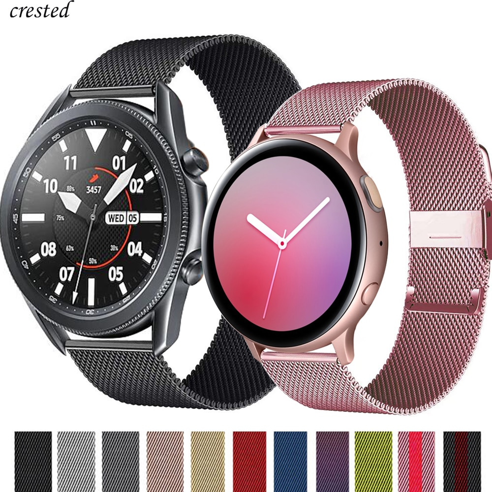 Milanese strap For Samsung Galaxy watch 3 45mm 41mm/Active 2 46mm/42mm Gear S3 Frontier 20mm 22mm bracelet Huawei GT2 pro/2e