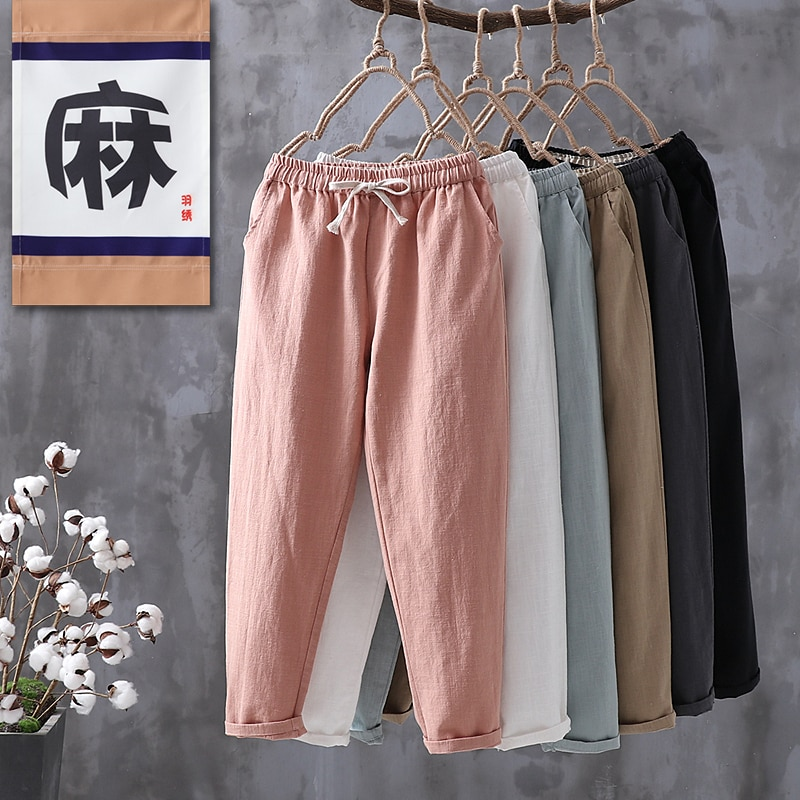 Summer Pants for Women Vintage Casual Capri Pants Elastic Waist Cotton Linen Ankle-Length Harem Pant