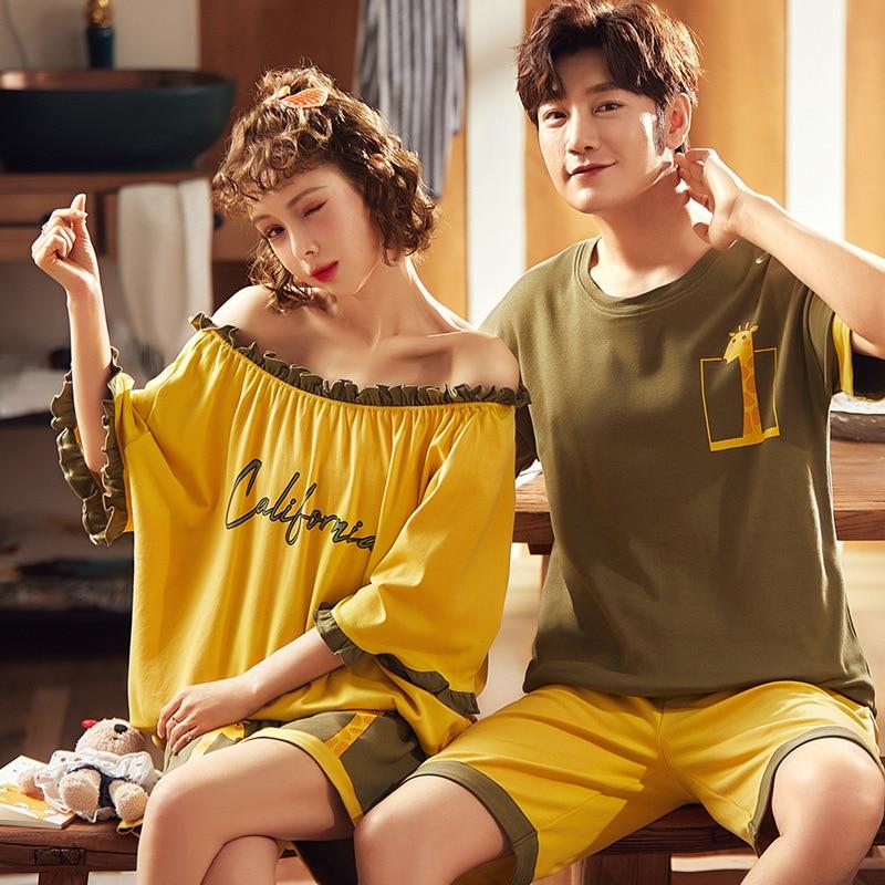 New Cartoon Print Couple Pajamas Set Summer Cotton Women And Men Pyjamas Short Sleeve Sleepwear Lounge Pajama Lovers Loungewear