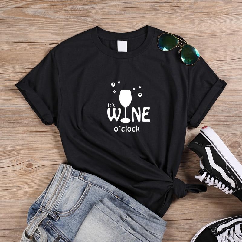 ONSEME Happy Moments T Shirt Women It's Wine O'Clock Letter Print Women tshirt Casual Best Friends Summer Korean Clothes Q-856