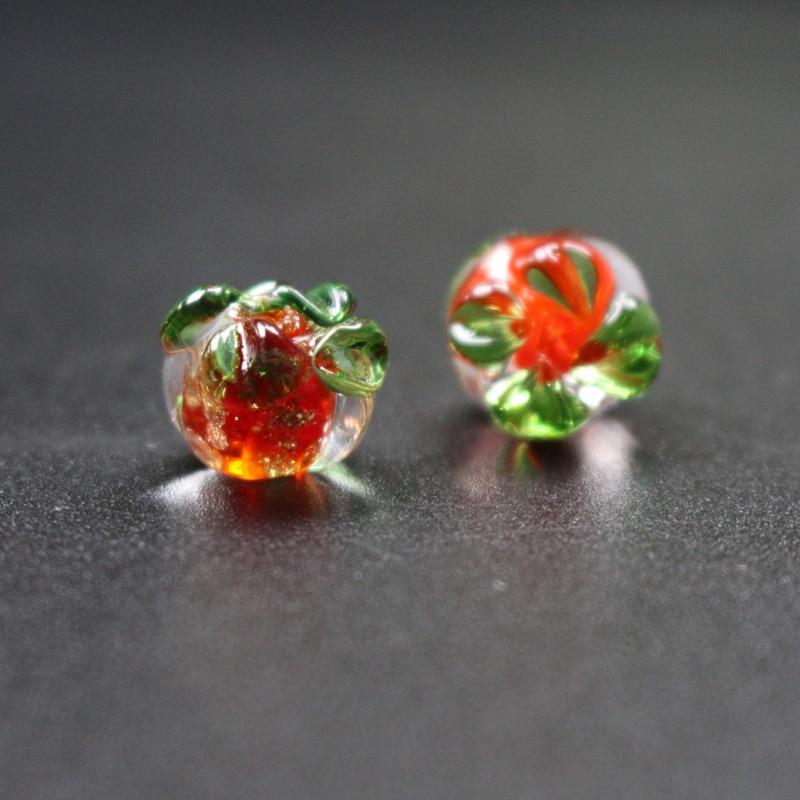 10 Uds. 12mm * 10 lápara de trabajo de cristal, mm cuentas luminosas encantadoras cuentas de calabaza Color rojo naranja para hacer joyería DIY