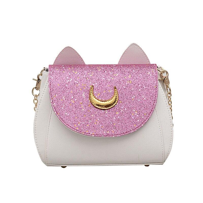 New Summer Sailor Moon Ladies Luna Cat Chain Shoulder Bag PU Leather Casual Handbag Women Fashion Crossbody Messenger Small Bags