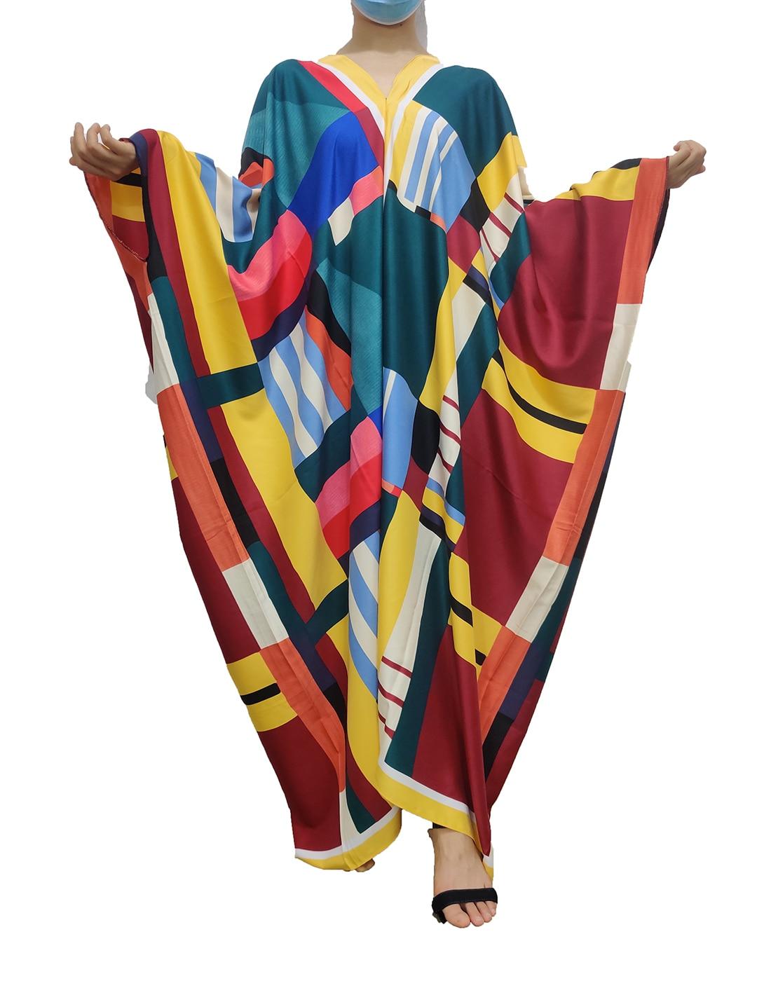 2021Winni جديد متعدد الألوان رمضان عيد عباية دبي تركيا موضة مسلمة الكويت التقليدية الخامس الرقبة كامل طول الحرير فستان قفطان