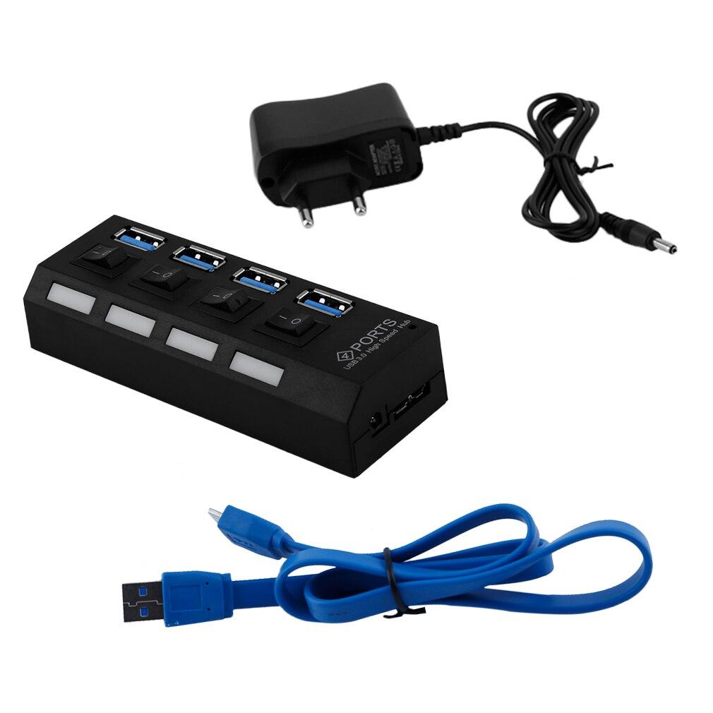 Professionelle Stecker und Spielen 4 Port USB 3,0 Hub Auf/Off Schalter & AC Power Adapter Kabel für PC laptop EU/Us-stecker