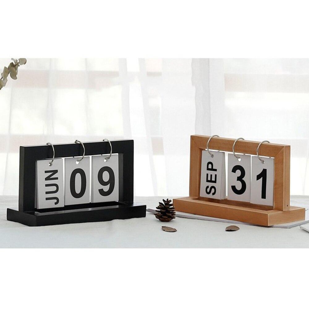 Nordic Minimalist Creative Wooden Page Calendar Desktop Study Desk Calendar Wooden Ornaments Home Decoration Accessories (Wood