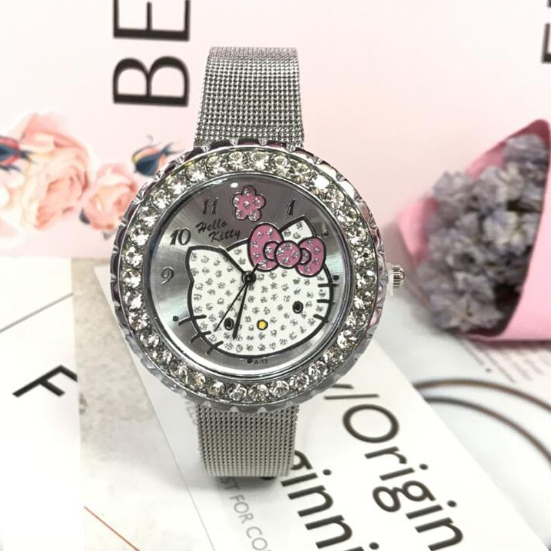 Reloj de pulsera de acero con diseño de hello kitty para niños y niñas.