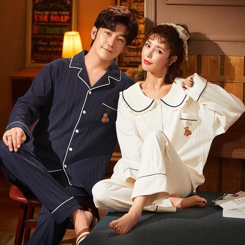Noite doce pijama outono algodão pijamas conjuntos casal pijamas família amante noite terno boneca bonito colarinho camisola feminina