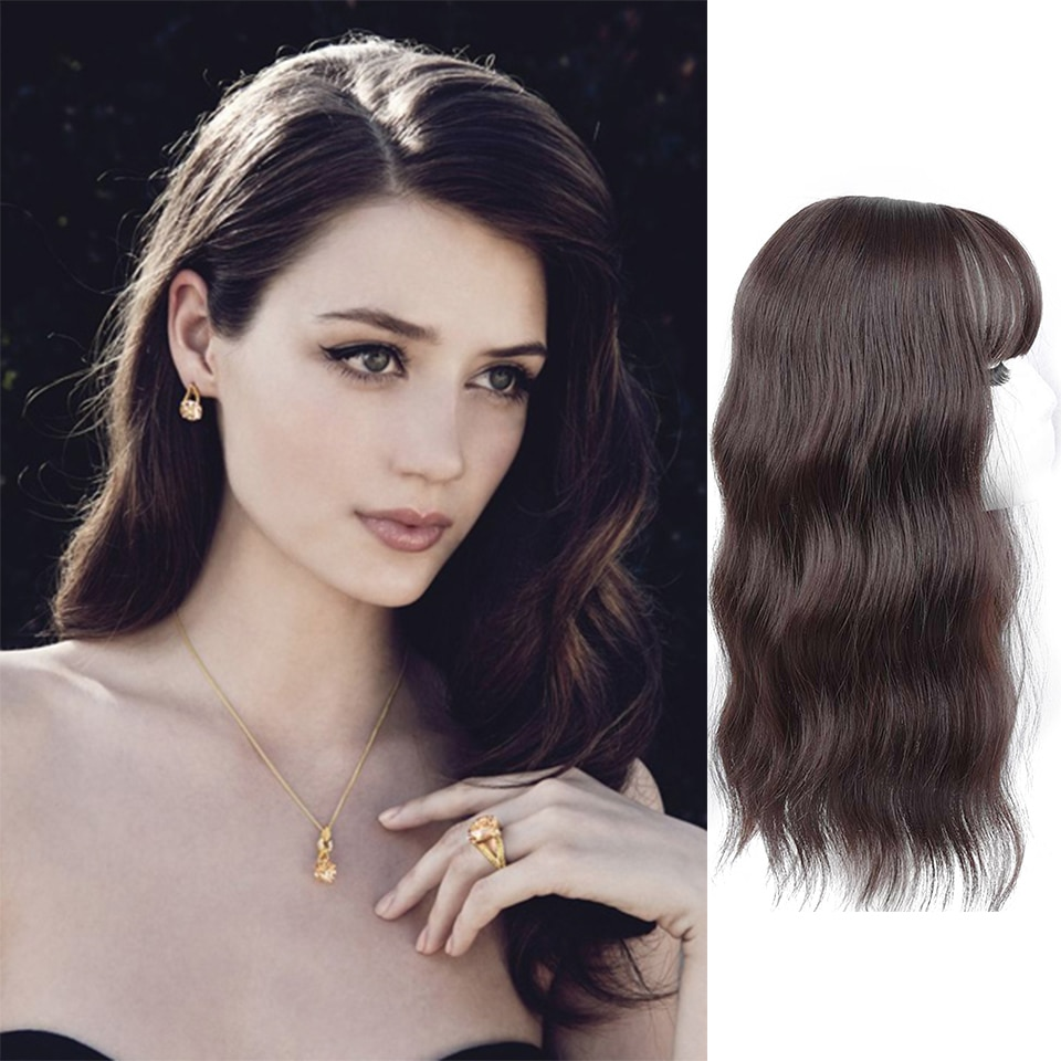 Long synthetic wave topper hair extensions wig for bald hair sparse fake false hair curly black brown MUMUPI