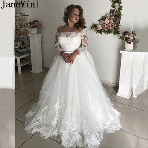 JaneVini 2021 Lace Wedding Dresses Plus Size Women Marriage A-line Illusion Long Sleeves Tulle Bride to be Bridal Gowns Custom