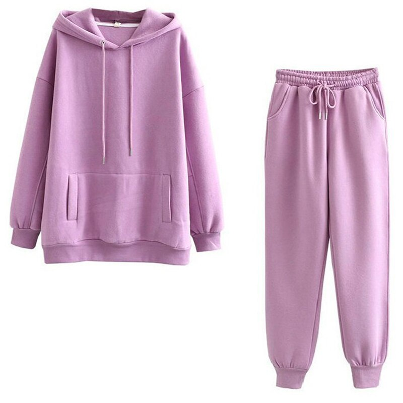 2021 novas senhoras conjuntos de cor sólida camisola com capuz mais veludo grosso solto casual moda esportes define feminino S-XL