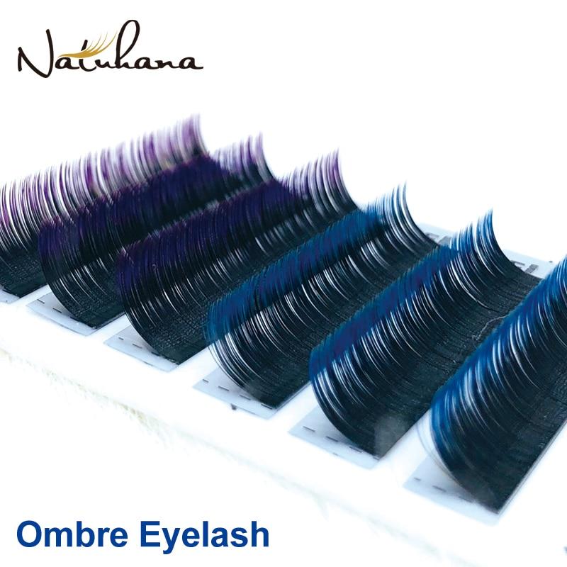 NATUHANA משלוח חינם 6 שורות Ombre כחול סגול צבע הארכת ריסים מלאכותי מינק שווא עין ריסים מקצועי סלון