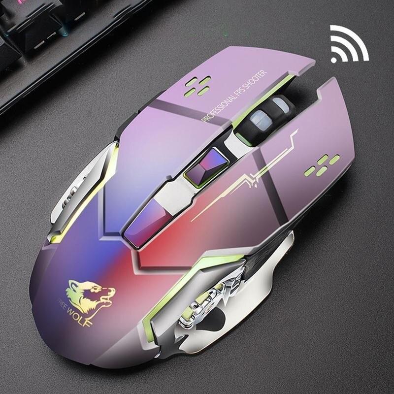 Nuevo recargable X8 inalámbrico silencioso retroiluminado con LED USB ratón óptico ergonómico para juegos ratón para ordenador de sobremesa para imac Macbook Pro/ordenador portátil