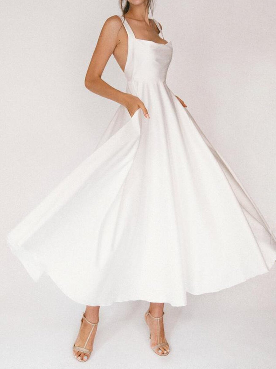 Long Dress Women Party Wedding White Prom Dresses Slash Neck Sleeveless Maxi Backless Sexy Club Eleg