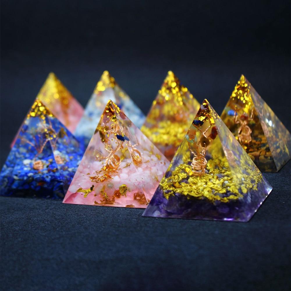 Orgonita pirâmide cura energia orgone natural cristais rocha rosa quartzo ametista ágata pedras reiki 7 chakra jóias